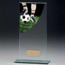 Football Boot Colour Curved Jade Glass Award